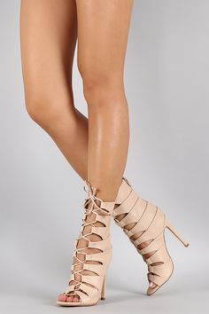 Liliana Leatherette Caged Lace Up Heel