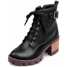 Women's Solid PU Kitten-Heels Zipper Round Closed Toe Boots *** See this great product. (This is an affiliate link) #MidCalf