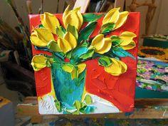Yellow Tulips Original Wall Decor Small by IronsideImpastos, $40.00