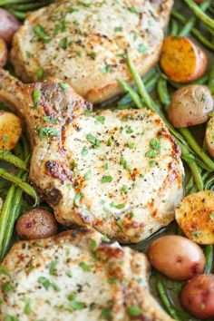 One Pan Ranch Pork Chops and Veggies - The easiest 5-ingredient meal EVER! And yes, you just need one pan with 5 min prep. It's quick, easy and effortless! I used this recipe as an inspiration for our dinner. Used sweet potatoes and onions in the pan instead and roasted cauliflower separately. Was really good.
