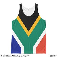 Colorful South Africa Flag All-Over-Print Tank Top - Wear the colorful flag of South Africa on an all-over print tank top. Perfect for sporting events, to show your national pride, or for every-day wear. Colors include black, gold, green, red, blue and white. Sold at Flags2Go on Zazzle.