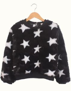 Black Long Sleeve Stars Print Faux Fur Sweatshirt US$32.30