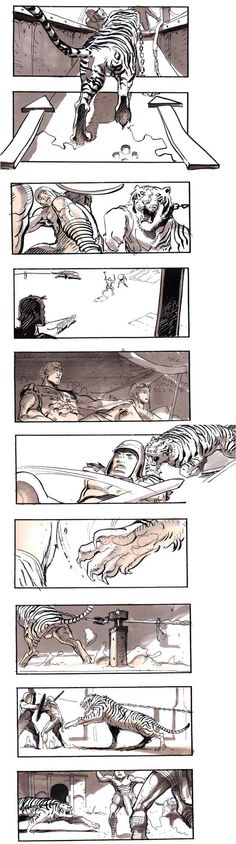 Gladiator Storyboard. Sylvain Despretz. Sick as fuck perspective and breaking the grid.