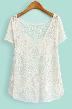 White Short Sleeve Crochet Lace Sheer T-shirt