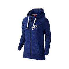Nike Women's Gym Vintage Full-Zip Hoodie, Blue ($60) ❤ liked on Polyvore featuring tops, hoodies, blue, full zip hoodies, blue hoodie, graphic hoodies, graphic hoodie and blue top