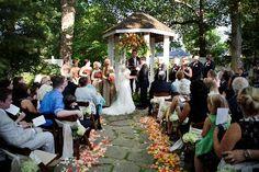 Nashville Garden Wedding   CJ's Off the Square   Peach Ceremony Decor - Photo: Phindy Studios