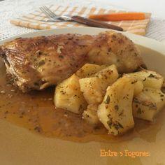 Asado de Muslos de Pollo con Patatas y Encurtido de Limón