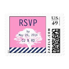 Pink Navy Blue Monograms Modern Wedding RSVP Postage