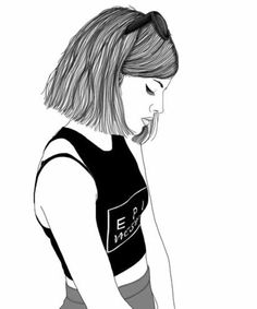 Best hipster girl drawing - ideas and images on bing Hipster Girl Drawing, Tumblr Girl Drawing, Tumblr Drawings, Tumblr Art, Tumblr Outline, Outline Art, Outline Drawings, Cute Drawings, Girl Drawings