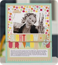 Beautiful 7th birthday scrapbook layout.  Made with Pebbles Inc. Hip Hip Hooray Collection.  Get the whole collection at www.cardstockshop.com.