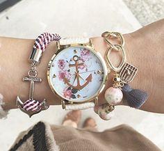 HITOP Vintage Retro Blume Damen Armbanduhr Basel-Stil Anker Blumen Leather Quarz uhr Lederarmband Uhr Top Watch - weiß