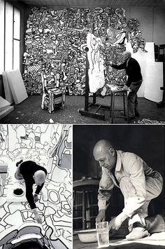 Jean Dubuffet working in his studio #artist #artistatwork #studio