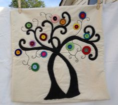 Tree Hand painted pillow cover