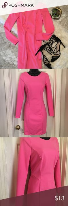 Jennifer Lopez Pink BodyCon Long Sleeve Mini Dress •Neon/Hot Pink in Color  •Dress is very nicely made and Material feels very rich •Has a light stretch  •Back is Dress has a slight dip •Fitted and hugs your curves  •Perfect for a girls night out Jennifer Lopez Dresses Long Sleeve