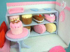 Free felt tutorial, mini roll cake 6 food - template stuffed toy pattern sewing handmade craft
