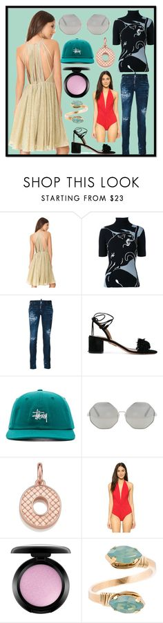 """Cool Looking"" by cate-jennifer ❤ liked on Polyvore featuring Halston Heritage, Valentino, Dsquared2, Aquazzura, Stussy, Cutler and Gross, Monica Vinader, Karla Colletto, MAC Cosmetics and Mimi & Lu"