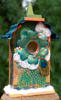 Apricot and Peacock Birdhouse with Painted by TheVelvetRobyn,