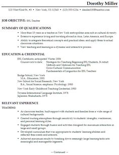 sample functional resume format for esl teacher