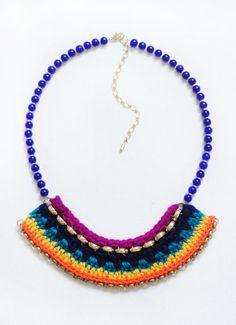 Crocheted Statement Bib Necklace Paradis by LoveNikita on Etsy, $15.50