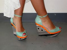 Print Wedge w/mint and orange <3