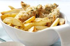 Lemon and parsley chicken and chips recipe