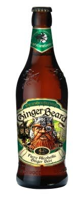 Wychwood, Ginger Beard. alcoholic ginger beer, not as sharp as crabbies, very smooth, sweet and summery. would go nice with a bbq. ABV. 4.2% Score: 7