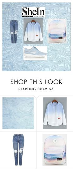 """""""Blue-Ombre-Hooded-Dip-Hem-Sweatshirt"""" by almaaa789 ❤ liked on Polyvore featuring moda, Topshop, JanSport e NIKE"""