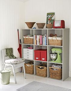 Square cubbies fit almost anywhere, and add super-versatile storage.     #storage #organization