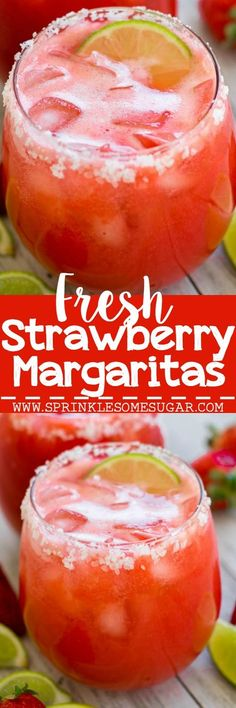 Strawberry margaritas that use fresh strawberries for a fun, refreshing drink! Fresh Strawberry Margaritas - Strawberry margaritas that use fresh strawberries for a fun, refreshing drink! Party Drinks, Cocktail Drinks, Fun Drinks, Yummy Drinks, Cocktail Recipes, Alcoholic Drinks, Beverages, Cocktails, Martini Party