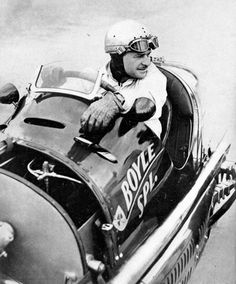 Wilbur Shaw, in his Boyle Special Maserati that he drove to victory in the 1940 Indianapolis 500/  He became the second man to win it 3 times(after Louis Meyer), having also won in 1937 and 1939. He was the first man to win the 500 twice in a row.