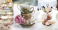 Cakestands for floral centerpieces and beautiful china for tea.