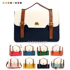 Womens Girl Square Fashion Handbag mint navy pink Cross Body Satchel bags #Handmade #MessengerCrossBody