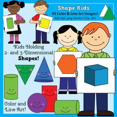 Geometry Shapes Clip Art with kids, for personal or commercial use, $