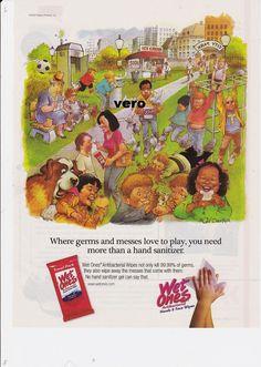 2009 MORT DRUCKER magazine ad WET ONES wipes caricature cartoon comic art print