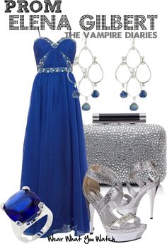 A prom look inspired by Nina Dobrev as Elena Gilbert on The Vampire Diaries.