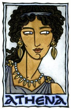 Athena, the Greek Goddess of Wisdom from the World Goddess Oracle by Thalia Took. Greek Goddess Of Wisdom, Athena Goddess, Greek Gods, Sacred Feminine, Divine Feminine, Greek Mythology Art, Divine Mother, Gods And Goddesses, Thalia