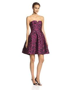 Strapless Jacquard Cocktail Dress with Tulip Skirt, Boysenberry/Black Abstract Brushstroke, 0 #fashion #gift #christmas #christmassale #christmasdeal