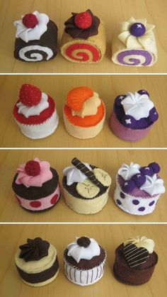 DusiCrafts by Dušanka Sirše: Felt fake food - Cupcakes / Male tortice iz filca Food Crafts, Crafts For Kids, Felt Food Patterns, Felt Play Food, Pretend Food, Fake Food, Felt Fabric, Felt Diy, Felt Ornaments