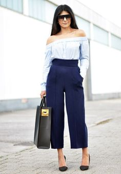 structured bag with off shoulder blouse and culottes