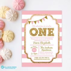 Pink and Gold invitation 1st Birthday Invitation by EllisonReed