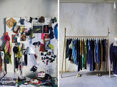 From left: a colorful inspiration board in the studio; seasonless designs displayed inside his shop.