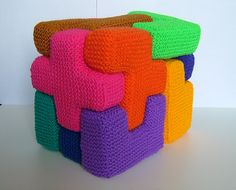 "Ravelry: Pentominoes & Pentacubes pattern by Woolly Thoughts  great little ""teaching"" item and great stash buster, too."