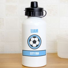 You can personalise this drinks bottle with a name up to 12 characters and an additional line up to 15 characters long.