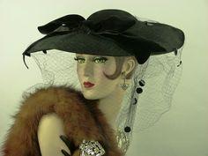 VINTAGE HAT 1940s LILLY DACHE BLACK FELT WIDE BRIM HAT, SEQUIN VEIL & VELVET BOW