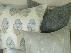 Pillow Collection in Blues and Soft Green Blue Pillows, Diy Pillows, Custom Pillows, Accent Pillows, Throw Pillows, Diy Pillow Covers, Pillow Inserts, Rose Tarlow, Weaving Process