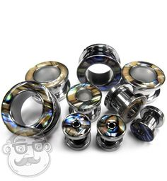 Abablone Shell Rimmed Screw on Tunnels Plugs