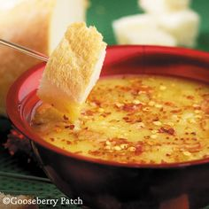 Garlic-Romano Dipping Sauce--romano cheese, olive oil, red pepper flakes & garlic. Oh yes...and the glorious bread:) Pass ALL of it please:)