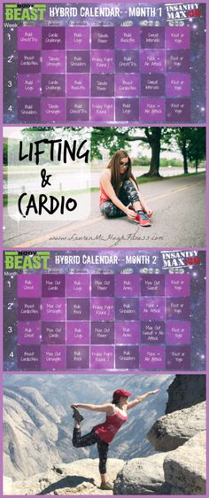 Are you a cardio queen? A lifting beast? I'm trying to be both, so I made this awesome home workout hybrid schedule of 2 of the most effective programs I've used so far! CLICK the pin for more info on each of them :)  #Lifting #girlswholift #justdoit #cardio