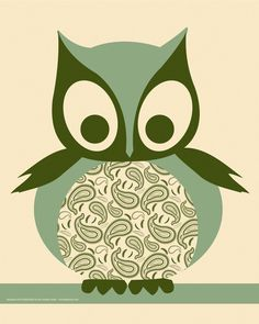 Owl silkscreen poster from Hero Design Studio.  #owls  #herodesignstudio