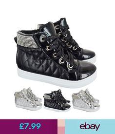 f48862fad0 Girls  Shoes Kids Girls Flat Hi High Top Trainers Diamante Infants Children  Sneakers Shoes Sz
